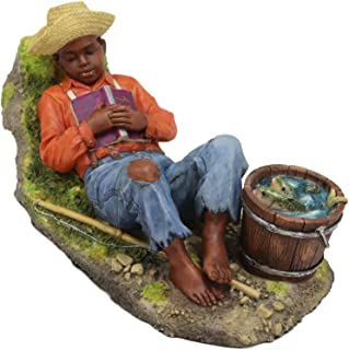 Ebros Colorful Vintage Black Americana History African American Boy Sleeping by A Creek Statue 7