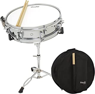 Mendini 14 x 3.5 inch Student Steel Snare Drum Set with Gig Bag, Sticks and Non-Adjustable Stand (Pad not included)