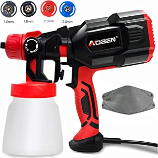 AOBEN Paint Sprayer, 550 Watt High Power HVLP Spray Gun, with 3 Spray Patterns, 4 Nozzle Sizes, Adjustable Valve Knob, Easy-to-Use Electric Paint Gun for Home with a Mask