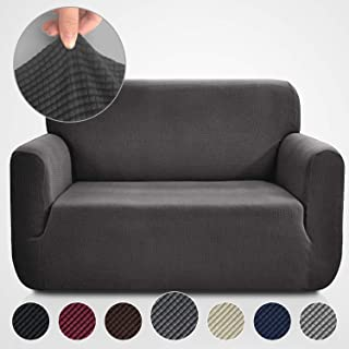 Rose Home Fashion RHF Jacquard-Stretch Loveseat Slipcover Slipcovers for Couches and Loveseats, Loveseat Cover&Couch Cover for Dogs, 1-Piece Sofa Protector(Loveseat: Dark Gray)