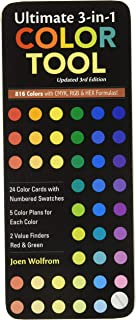 Ultimate 3-in-1 Color Tool: 24 Color Cards with Numbered Swatches - 5 Color Plans for each Color - 2 Value Finders Red & G...