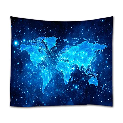 Starry World Map Tapestry, Goodbath Universe Nebel Star in Outer Space Fabric Wall Hanging for Living Room Bedroom Dorm, 90 x 70 Inch, Blue