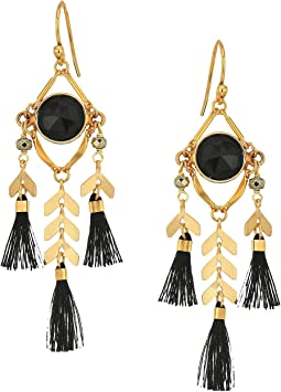 Chevron and Tassel Earrings with Semi Precious Stones