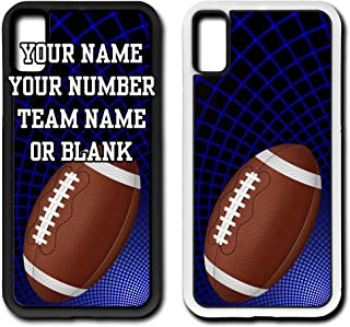 Custom Football iPhone Xs Case Fits iPhone Xs or iPhone X Custom Made Design Cell Phone Case with Any Jersey Number Name in White Rubber F1073 by TYD Designs