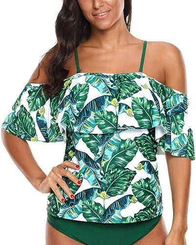 Circlefly Bord de feuille Lotus split maillot de bain un mot bretelle soucravaten-gorge bikini ombre femelle petite poitrine recueillir conservateur