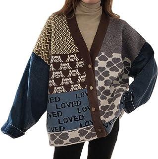 Cárdigan de punto vintage para mujer, de manga larga, con remiendo de mezclilla y cuello en V, ropa de punto informal holg...
