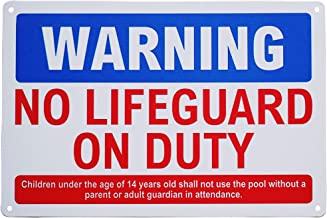 Monifith Funny Pool Safety Rules Warning NO Lifeguard on Duty Sign for Residential or Commercial Swimming Pools 8 X 12Inch