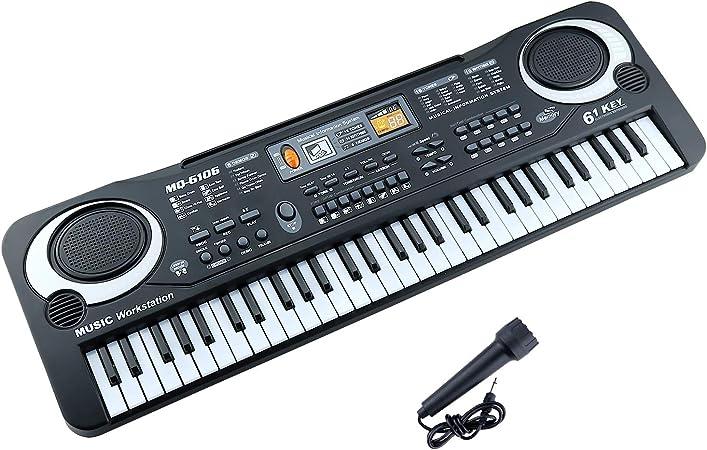 m zimoon Teclado para Niños, Teclado de Piano para Niños con Micrófono 61 Teclas Juguete Musical Educativo Portátil Teclados Eléctricos Piano para ...