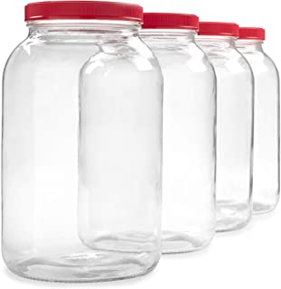 4 Pack - 1 Gallon Glass Jar w/Plastic Airtight Lid, Muslin Cloth, Rubber Band - Made in USA, Wide Mouth Easy to Clean - BP...