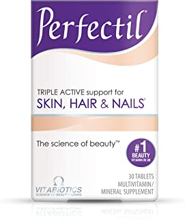 Vitabiotics Perfectil Triple-Active Beauty Multivitamin | All-in-One Skin, Hair & Nail Supplement with Vitamin B2 + B3, Biotin, Selenium and Zinc (30 Tablets)