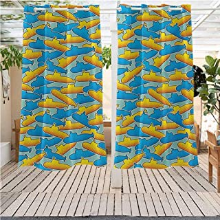 DONEECKL Yellow Submarine Outdoor Waterproof Outdoor Curtain Pop Art Style Retro Underwater Theme Classical Submarine Design Print Pergola W55 x L45 inch Yellow and Blue