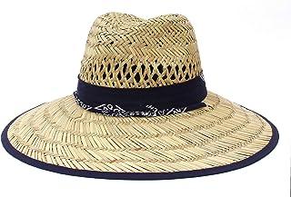 Jelord Sombrero de Paja para Hombre Modelo Panamá Sombrero de Safari de Verano para Campo Sombrero de Playa Decoración de ...