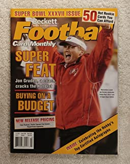 Super Feat - Buccaneer Coach Jon Gruden celebrates Tampa Bay's 48-21 win in Super Bowl XXXVII - Beckett Football Card Monthly - #156 - March 2003 - Back Cover: Derrick Brooks (Tampa Bay Buccaneers)