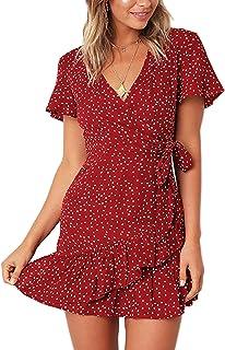 Relipop الصيف المرأة قصيرة الأكمام طباعة اللباس الخامس الرقبة عارضة فساتين قصيرة