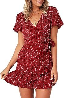 Summer Women Short Sleeve Print Dress V Neck Casual Short...