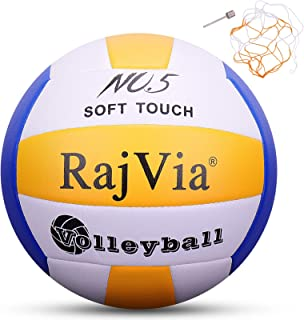 Rajvia Soft Touch Beach Volleyball,Official Size 5 Indoor Outdoor Volleyball,Pool Gym Training Game Beach Play Ball,Comes ...