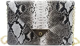 Women Large Envelop Clutch Handbag with Chain Strap Ladies Snakeskin Shoulder Crossbody Bag