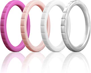 ThunderFit Womens Thin Square Diamond Rings, 8 Rings / 4 Rings / 1 Ring | Stackable Silicone Wedding Rings 2.8mm Wide
