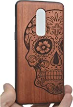 VolksRose OnePlus 6 Wooden Case - Premium Quality Natural Wood Hard Case Shock Absorbing Protective Phone Cover - Rosewood Skull and PC