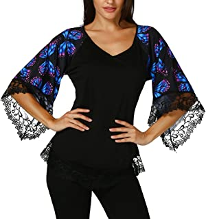 debddedd9067d HIKO23 Fashion Plus Size Clothing for Women Womens Camis Printed Applique Flare  Sleeve Tops Blouses Keyhole ...