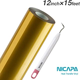 Nicapa HTV Vinyl Gold Roll 12inch x 15feet Iron on Heat Transfer Vinyl Roll Bundle for Silhouette/Cricut/Brother/Iron-on Heat Press T Shirts Garments Stencil Vinyl