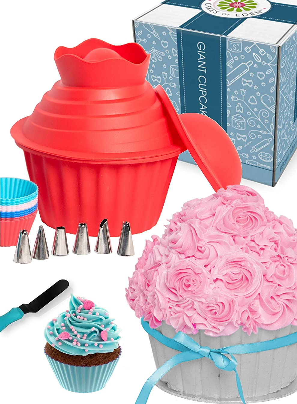 29pcs Giant Cupcake Pan Silicone Molds - Extra Huge Oversized Bakeware Cup Mold. Large Smash Cake Big Jumbo Muffin Baking Decorating Supplies Kit Accessories Frosting Icing Piping Bags Tips Cups