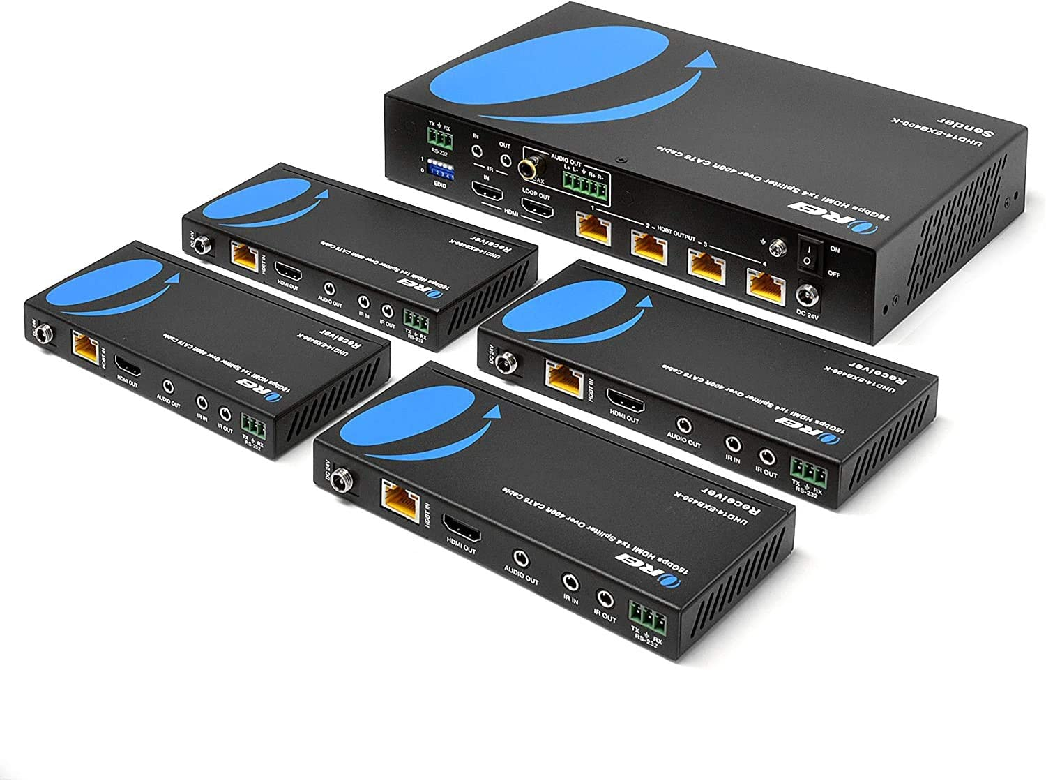 1x4 HDMI Extender Splitter HDBaseT 4K by OREI Multiple Over Single Cable CAT6/7 4K@60Hz 4:4:4 HDCP 2.2 With IR Remote EDID Management, HDR - Up to 400 Ft - Loop Out - Low Latency - Full Support