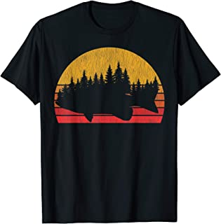Bass Fishing Forest Retro Largemouth Fisherman Gift T-Shirt