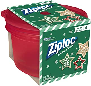Ziploc Limited Edition Holiday Colored Storage Containers with Lids (Large Round, Red) (Single)