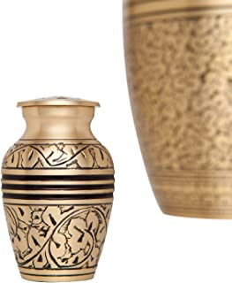 Mini Keepsake Urn • Gold with Engraved Tree Branches and Leaves • Miniature Funeral Cremation Urn fits Small Amount of Ashes • Branches Model • 3 inches Tall