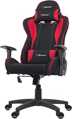 Arozzi Forte Racing Style Fabric Gaming Chair with High Backrest, Recliner, Swivel, Tilt, Rocker & Seat Height Adjustment, Lumbar & Headrest Pillows Included - Red