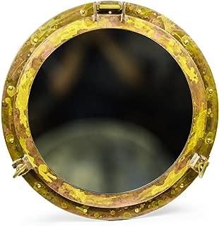 Nagina International Antique Brass Porthole Mirror   Maritime Ship's Decor   Wall Hanging (20 Inches)