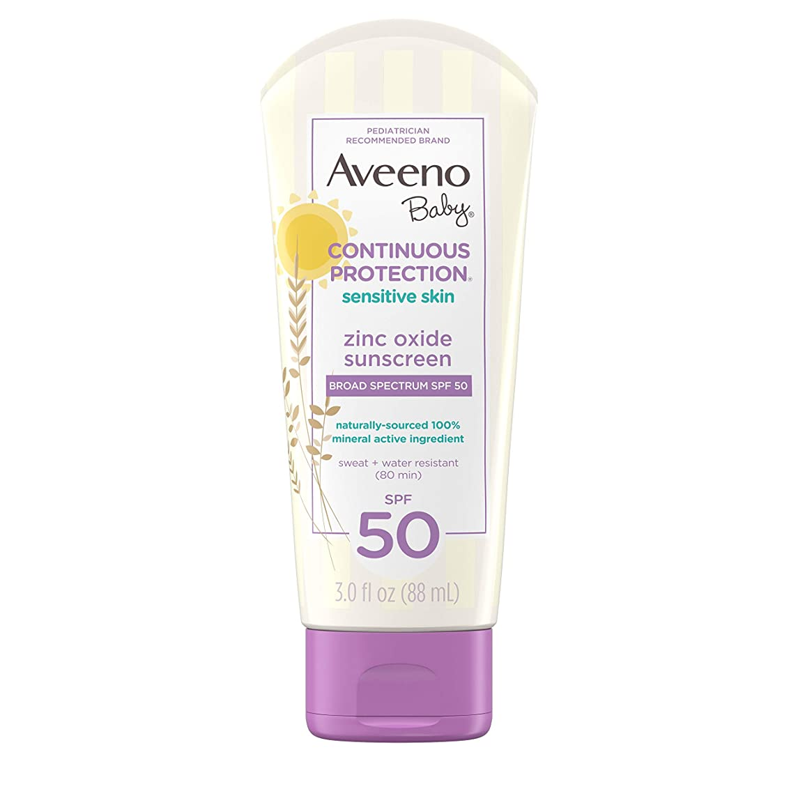 タンカー特別な民間Aveeno Baby 広域スペクトルのSPF 50、涙フリー、Sweat-&耐水性、旅行、サイズ、3フロリダで敏感肌用のContinuous Protection酸化亜鉛ミネラル日焼け止めローション。オズ