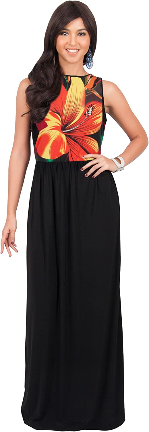 KOH KOH Womens Long Sleeveless Summer Floral Printed Casual Gown Maxi Dress