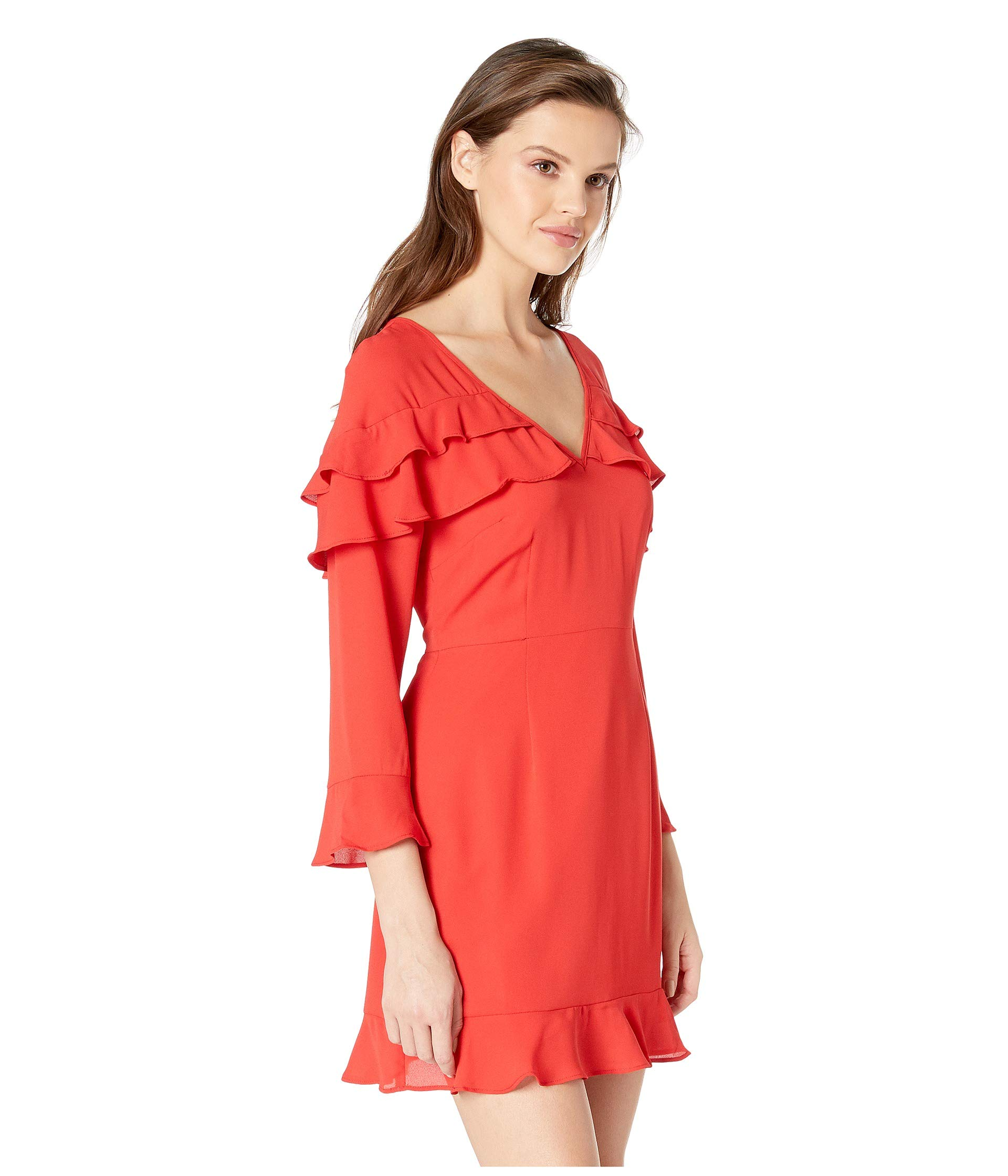 Red De Ruffle Jack Crepe Chine Nightlife Bb Cherry Dakota Dress Love By The x6z04w67q