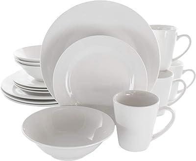 Elama Service for Four Dinnerware Set, 16 Piece, White