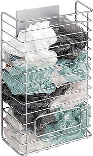 mDesign AFFIXX Organizador de Bolsas de plástico Plateado – Almacenaje para Bolsas de plástico – Práctica Caja metálica pa...