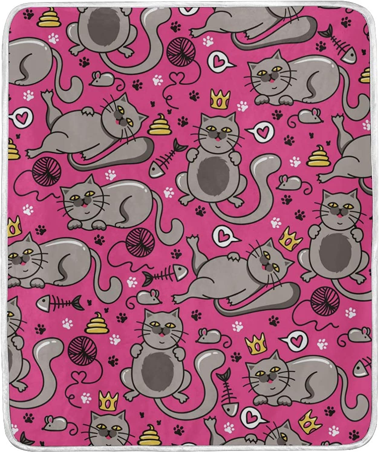 WIHVE Home Decor Blanket Cat Fish Bone Mouse Ball Throw Lightweight Soft Warm Blankets for Bed Couch Sofa 50 X 60 Inches