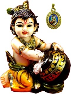 Amazing India Hand Carved Baby Krishna Resin Idol Sculpture Statue 6.5 Inches X 5 Inches Multicolor