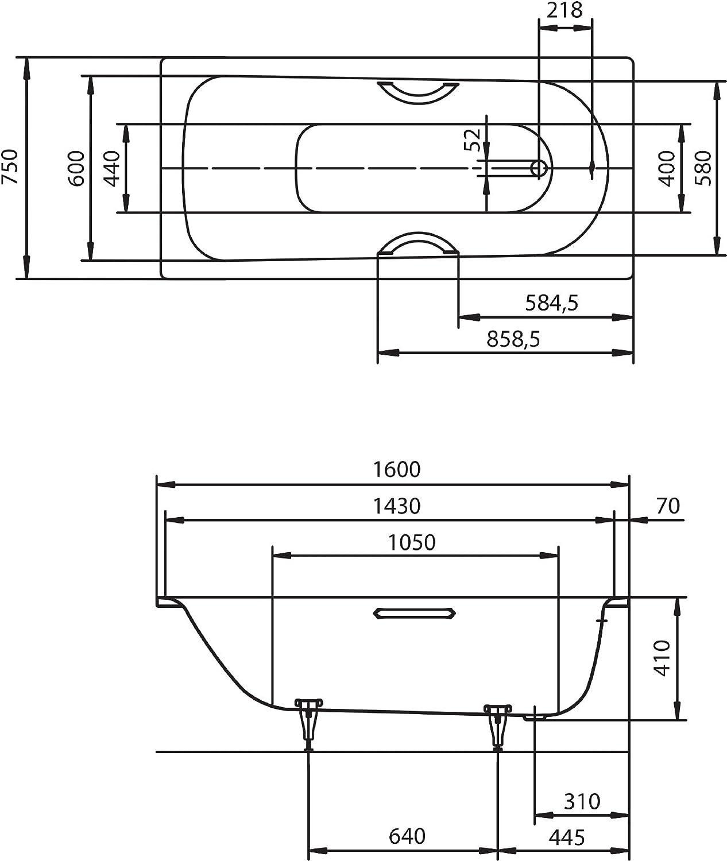 Kaldewei 20 20 Stahl Saniform Plus   20 20   Badewanne   Stahlwanne   2020  x 20 cm   Weiß