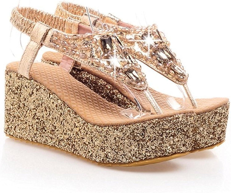 Velardeeee Glittering Beaded Bohemia Women Beach Sandals Rhinestone Flip Flops LadyDiamand Platform Wedge shoes