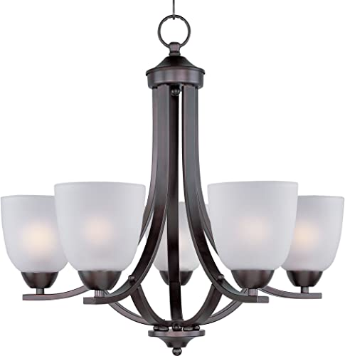"""2021 Maxim 11225FTOI high quality Axis Frosted Glass Chandelier, 5-Light 300 Total Watts, 21""""H x 24""""W, 2021 Oil-Rubbed Bronze outlet online sale"""