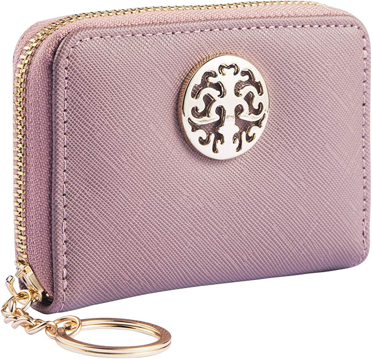 PUFER Women Mini Wallet with Keychain Small Card Case Holder Zipper