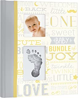 Little Blossoms by Pearhead Vintage Five Year Memory Book with an Included Clean-Touch Pad to Create Baby's Handprint or Footprint, Yellow and Gray