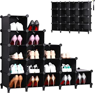 ANWBROAD 15-cubo Zapatero Escalonado Ahorra Espacio Organizador de almacenamiento de Zapatos Armario Modular Plástico Dorm...