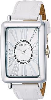 [ブルッキアーナ]BROOKIANA 腕時計 クオーツ 天然ダイヤモンド レクタンギュラーケース ローマインデックス ホワイト×ホワイトレザー BA5102-SVWHWH メンズ 腕時計