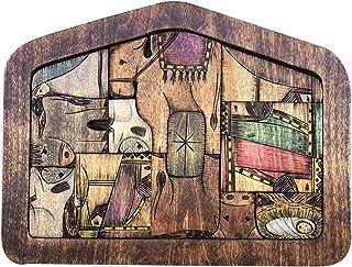 Ganghuo Puzzle en bois pour crèche de Noël avec motifs en bois brûlé - Cadeau artisanal pour enfants et adultes