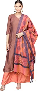 Inddus Pink Cotton Kurta & Plazzo With Cotton Jacquard Dupatta (Fully-Stitched).