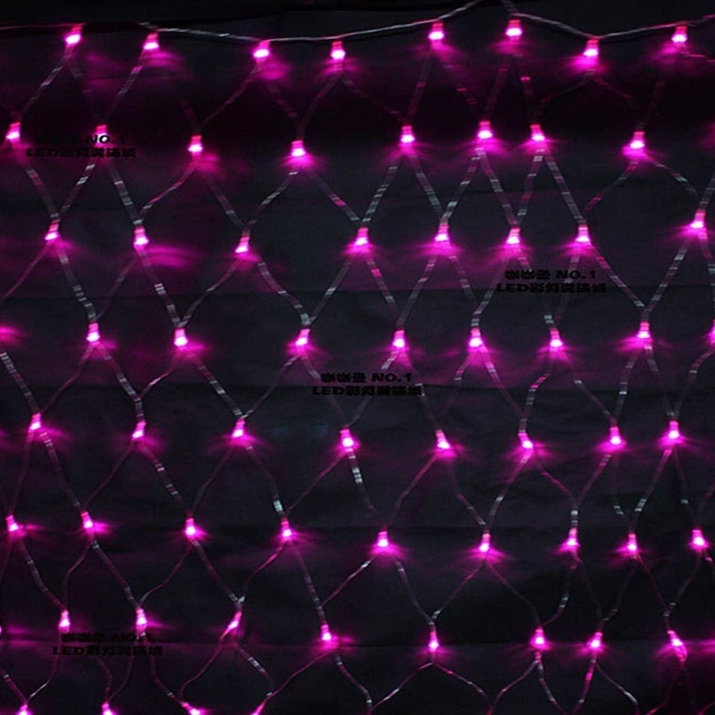 Net Lichterketten, Nettolichter, LED-Lichterketten, LED-Lichterketten, Weihnachtsbeleuchtung, 8 Modi Schnur-Lichter for Weihnachts-Geburtstags-Party Hochzeit Garten-Dekorationen, mit Schwanz, (Pink) Pink-10pcs-9.8x6.6ft
