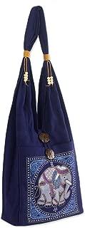 NOVICA Dark Blue Handmade Embroidered Shoulder Bag, Lucky Elephant'